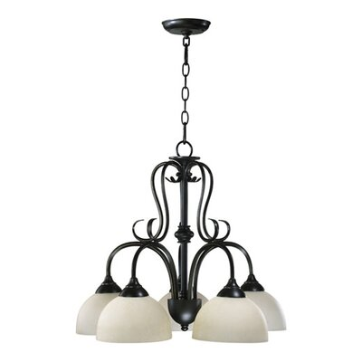 Powell 5-Light Shaded Chandelier Finish: Old World, Shade Color: Amber Scavo