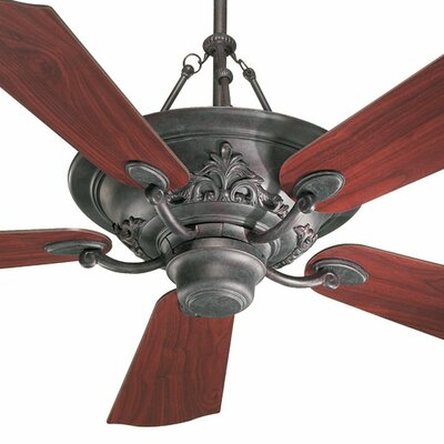 56 Salon 5-Blade Ceiling Fan with Remote Finish: Toasted Sienna with Rosewood / Walnut Blades