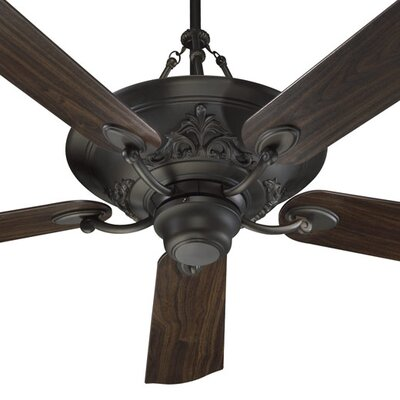 56 Salon 5-Blade Ceiling Fan with Remote Finish: Oiled Bronze with Teak / Walnut Blades