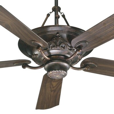 56 Salon 5-Blade Ceiling Fan with Remote Finish: Corsican Gold with Dark Oak / Walnut Blades