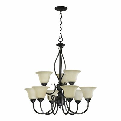 Spencer 9-Light Shaded Chandelier Finish: Oiled Bronze