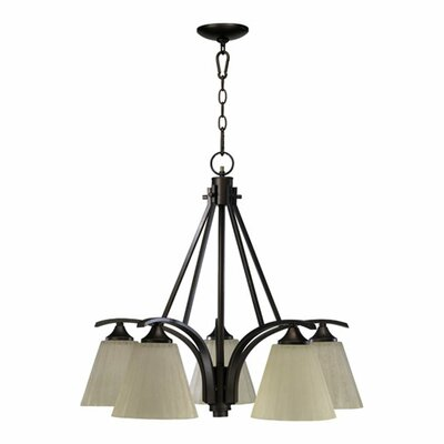 Winslet 5-Light Shaded Chandelier Finish: Oiled Bronze with Linen Glass Shade