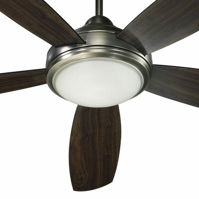 52 Colton 5-Blade Ceiling Fan Finish: Antique Silver with Silver / Walnut Blades