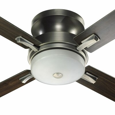52 Davenport 4-Blade Ceiling Fan Finish: Antique Silver with Silver/Walnut Blades