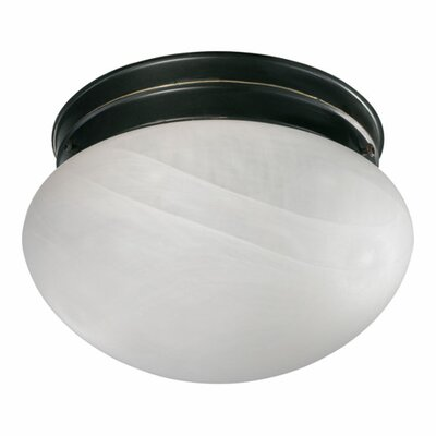 60W Flush Mount Size: 4.5 H x 7 W x 7 D, Finish: Old World