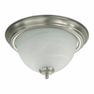 1-Light Flush Mount Size: 6 H x 13.5 W x 13.5 D, Finish: Satin Nickel
