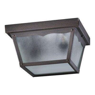 Cage 2-Light Flush Mount Size: 5.25 H x 9.25 W x 9.25 D, Finish: Rust