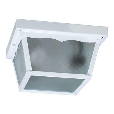 Cage 2-Light Flush Mount Size: 5.25 H x 9.25 W x 9.25 D, Finish: White