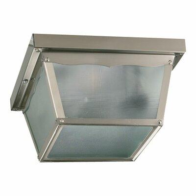 Cage 2-Light Flush Mount Size: 5.25 H x 9.25 W x 9.25 D, Finish: Satin Nickel