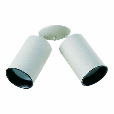 Two-Light Directional Spolight Bulb Type: (1) 60W medium base bulb, Finish: White