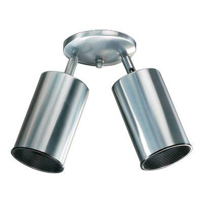 Two-Light Directional Spolight Finish: Brushed Steel, Bulb Type: (2) 60W medium base bulb