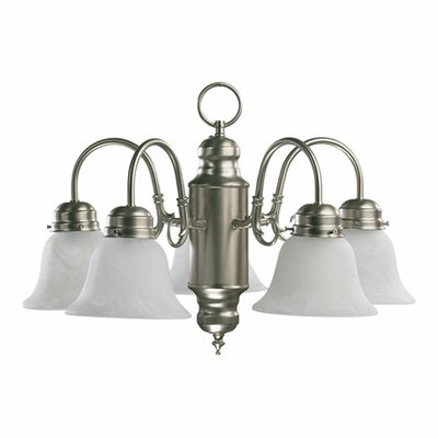 5-Light Shaded Chandelier Finish: Satin Nickel