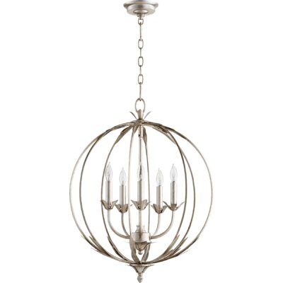 Flora 5-Light Globe Pendant Finish: Aged Silver