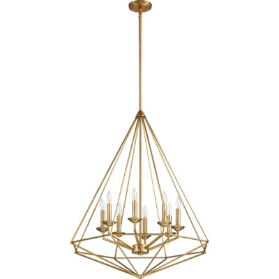 Bennett 8-Light Candle-Style Chandelier Finish: Aged brass