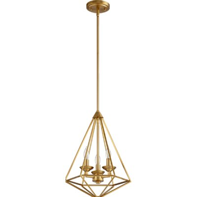 Bennett 3-Light Foyer Pendant Finish: Aged Brass