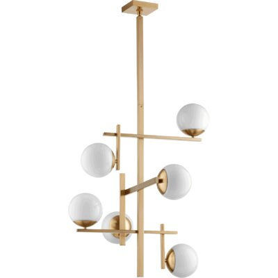 Atom 6-Light Shaded Chandelier Finish: Aged Brass