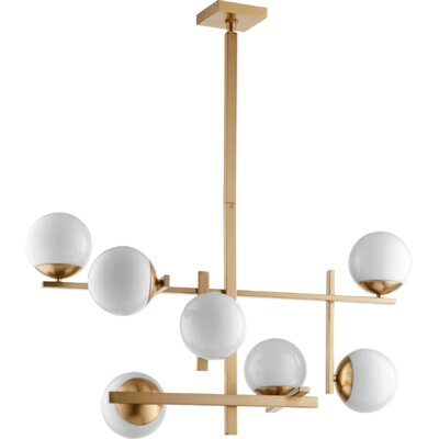 Atom 7-Light Shaded Chandelier Finish: Aged Brass