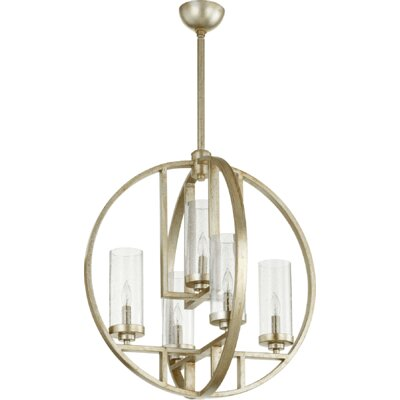 Julian 5-Light Globe Pendant Finish: Aged Silver, Shade Color: Clear