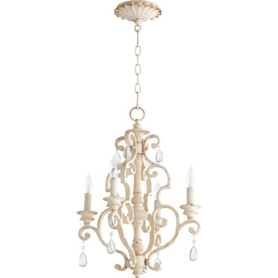 San Miguel 4-Light Candle-Style Chandelier Finish: Persian White