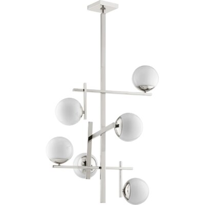 Atom 6-Light Shaded Chandelier Finish: Polished Nickel