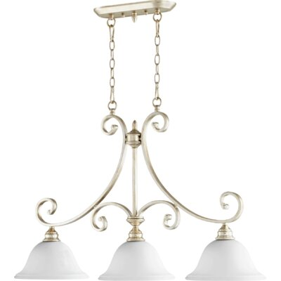 Asheville 3-Light Kitchen Island Pendant Size: 45 H x 23.5 W x 13 D, Finish: Aged Silver Leaf