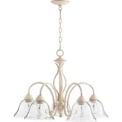 Spencer 5-Light Shaded Chandelier Finish: Persian White