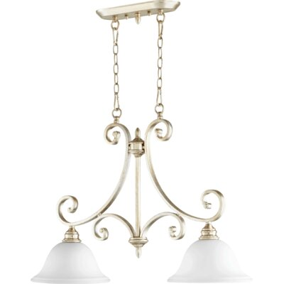 Asheville 2-Light Kitchen Island Pendant Finish: Aged Silver Leaf, Shade Color: White