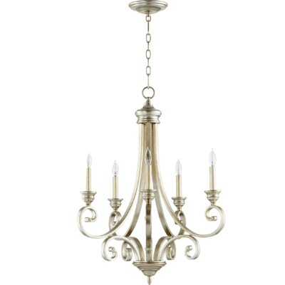 Bryant 5-Light Candle-Style Chandelier Finish: Aged Silver Leaf