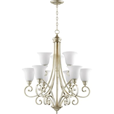 Bryant 9-Light Shaded Chandelier Finish: Aged Silver Leaf
