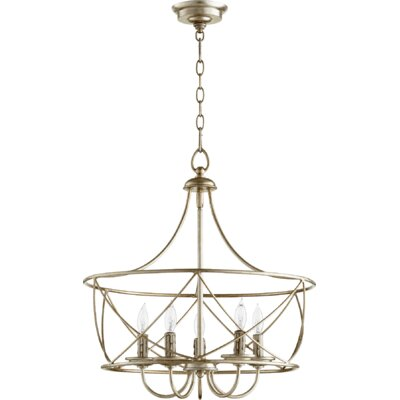 Cilia 5-Light Drum Pendant Finish: Aged Silver Leaf