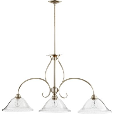 Spencer 3-Light Kitchen Island Pendant Finish: Aged Silver Leaf