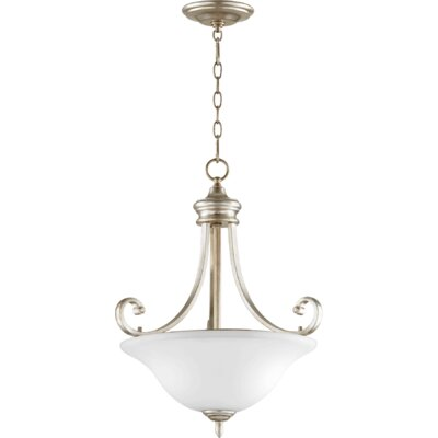 Asheville Transitional 3-Light Inverted Bowl Pendant Finish: Aged Silver Leaf