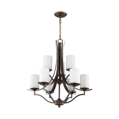 Atwood 9-Light Shaded Chandelier Shade Color: White