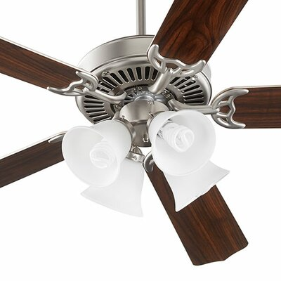 52 Staffordshire 5-Blade Ceiling Fan Finish: Satin Nickel, Bulb Type: Fluorescent