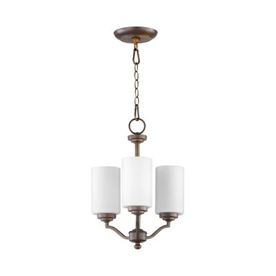 Atwood 3-Light Shaded Chandelier Shade Color: White