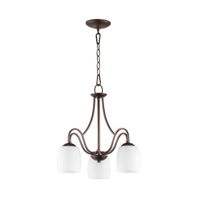 Mcguire 3-Light Candle-Style Chandelier Finish: Oiled Bronze, Shade Color: White