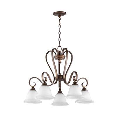 Celesta 5-Light Shaded Chandelier Finish: Oiled Bronze, Shade Color: White
