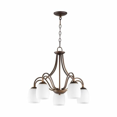 Mcguire 5-Light Candle-Style Chandelier Finish: Classic Nickel, Shade Color: Cream