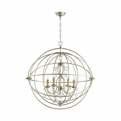 Cilia 5-Light Globe Pendant Finish: Aged Silver Leaf