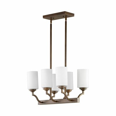 Atwood 6-Light Kitchen Island Pendant Shade Color: White