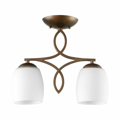 Willingham 2-Light Semi Flush Mount Finish: Oiled Bronze, Shade Color: Ivory