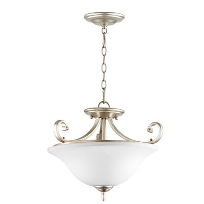 Bryant 3-Light Inverted Bowl Pendant Finish: Aged Silver Leaf