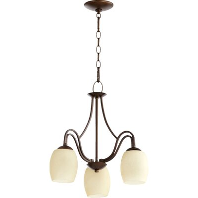 Mcguire 3-Light Candle-Style Chandelier Finish: Classic Nickel, Shade Color: Cream