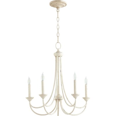 Hewlett 5-Light Candle-Style Chandelier Finish: Persian White