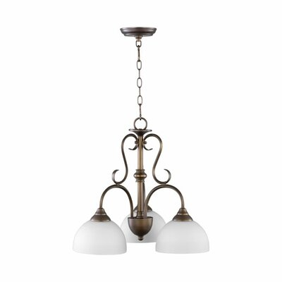 Powell 3-Light Mini Chandelier Finish: Oiled Bronze, Shade Color: Satin Opal