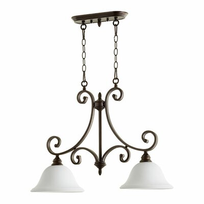 Bryant 2-Light Kitchen Island Pendant Finish: Oiled Bronze, Shade Color: Satin Opal