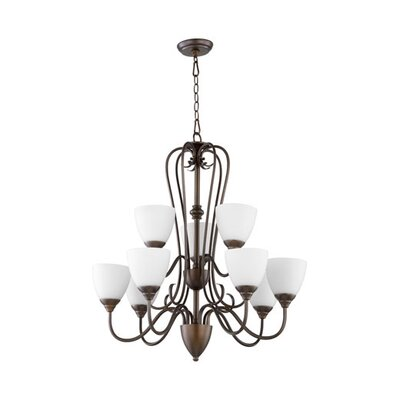 Powell 9-Light Shaded Chandelier Finish: Oiled Bronze, Shade Color: Satin Opal