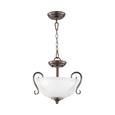 Powell 2-Light Convertible Inverted Pendant Finish: Oiled Bronze, Shade Color: Satin Opal
