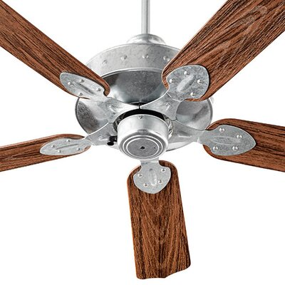 52 Hudson 5-Blade Patio Ceiling Fan Finish: Galvanized with Walnut Blades