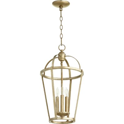 Mitre Entry 3-Light Foyer Pendant Finish: Aged Silver Leaf